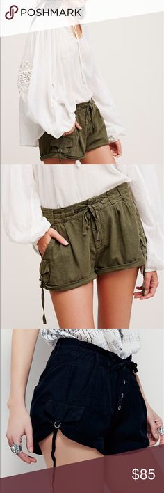 Free People Out of Africa shorts army green & blak Green size 10 and black ones size 12 these shorts are super cute they look good dressed up or down they are amazing Free People Shorts Cargos