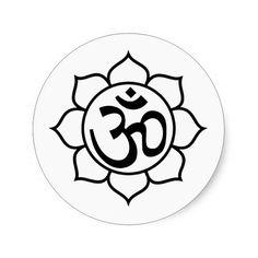 Lotus Flower Aum Symbol Classic Round Sticker | Zazzle