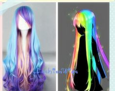 80cm Long Blue Purple and Pink Multi Mix Color Beautiful Lolita Cosplay Wig, Anime Costume Wigs for Party UF034