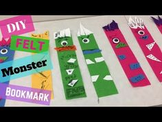 How to make a Felt monster bookmark - kids crafts - easy crafts - felt crafts Monster Bookmark, Felt Bookmark, Felt Diy, Felt Crafts, Easy Crafts For Kids, Diy For Kids, Felt Monster, Bookmarks Kids, Back To School Gifts