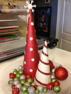 Love these glitter paper cone trees by Jill Olsen!!!  Snippets and Pretties: Glitter Cone Trees