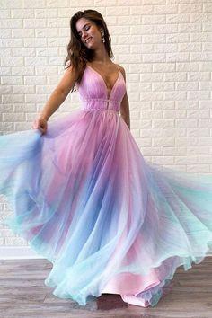 Ombre Prom Dresses, V Neck Prom Dresses, Beautiful Prom Dresses, Cheap Prom Dresses, Ball Dresses, Elegant Dresses, Homecoming Dresses, Ball Gowns, Evening Dresses