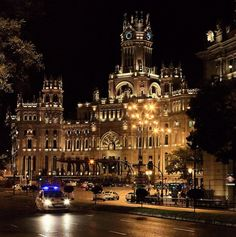 Palacio de Cibeles Madrid Spain. The cathedral-like landmark was built in 1909 by Antonio Palacios. This impressive building was home to the Postal  Telegraphic Museum until 2007 when the landmark building became the Madrid City Hall (Ayuntamiento de Madrid) / Photo: freemysoul, via Flickr