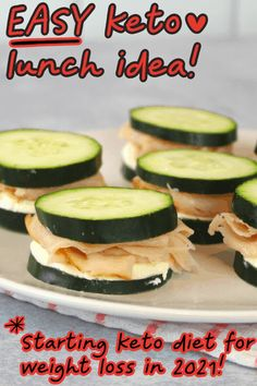 Need an easy keto lunch idea?? These keto turkey cucumber sandwiches are so easy to make! I'm starting a keto diet in 2021 for weight loss & this keto lunch recipe looks AMAZING!