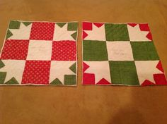 Two Antique Patchwork Quilt Pieces, Bear Paw, Red, Green, White, With Signature, eBay, webbsamericancountry1