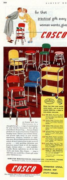 Fabulously bright, stylish mid-century household stools, chairs, and utility tables. 1950s ad - love these stools! I have a yellow one . . .