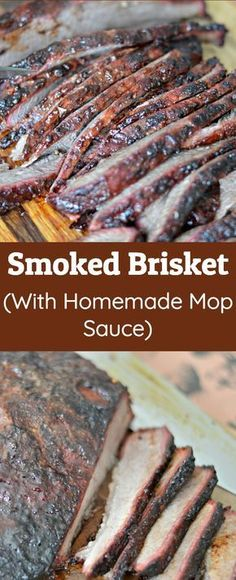 This Smoked Brisket Recipe will have everyone licking their fingers and asking for more. The secret is in the delicious homemade mop sauce and the slow cook on the Traeger wood pellet grill. Brisket Sauce Recipe, Beef Brisket Recipes, Smoked Meat Recipes, Recipe For Brisket On The Grill, Best Brisket Smoker Recipe, Smoked Brisket Injection Recipe, Traeger Smoker Recipes, Pellet Grill Recipes, Grilling Recipes