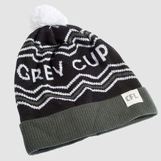 "CFL Grey Cup Black Toque. It's survived an attempted heist & ransom, a three-alarm fire blaze, and over 100 victory celebrations (we can only imagine how wild those were). To say that the words ""Grey Cup"" are iconic would be an understatement. Rep your country's (and one of North America's) oldest sport trophy with these toques this season.  Proudly Made in Canada. Sports Trophies, Grey Cup, Victorious, North America, Celebrations, Canada, Fire, Knitting, Country"