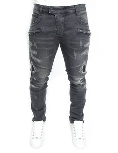 Black destroyed & distressed biker jeans
