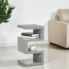 Furniture In Fashion Trio Contemporary Side Table In Grey High Gloss Living Room Rugs Ikea, Living Room Furniture Sale, Table Decor Living Room, Contemporary Living Room Furniture, Living Room Modern, Unique Furniture, Side Table Decor, Wooden Side Table, Sofa Side Table
