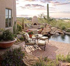 desert patio   desert pool  cacti gardening