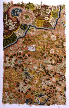 Kesi | tapestry | peonies + dragons + phoenixes + flowers + birds + deer | China | c. 13th-14th century: Yuan Dynasty