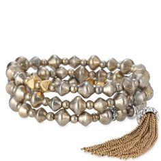 NWT Stella & Dot Milana Tassel Bracelet (Set of 3) Three separate bronze stretchy bracelets evoke a sophisticated bohemian look. Removable tassel wear alone or layer. Fits SM-LG size wrists. In pristine condition and in original box. Stella & Dot Jewelry Bracelets