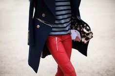 Red leather skinnies.