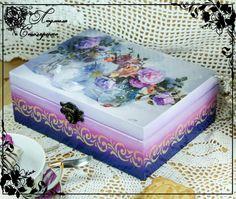 Фотография Homemade Gift Bags, Box Creative, Molduras Vintage, Decoupage Box, Shabby Chic Crafts, Tea Box, Pretty Box, Altered Boxes, Jewellery Boxes