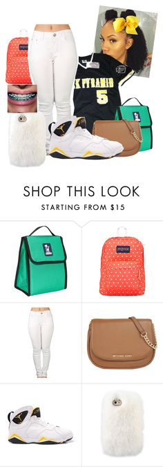 """""""Thursday...feelin my self today"""" by illestqveen ❤ liked on Polyvore featuring Wildkin, JanSport, MICHAEL Michael Kors and Retrò"""