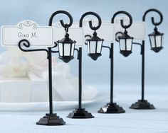 these Bourbon St. street light place card holders would be great on the tables in New Orleans!