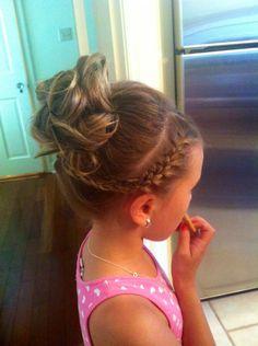 Cute little girl updo . Braid, ponytail, curls, done! Girls Updo, Girls Hairdos, Dance Hairstyles, Flower Girl Hairstyles, Pretty Hairstyles, Braid Hairstyles, Hair Girls, Short Hairstyles, Little Girl Hairdos