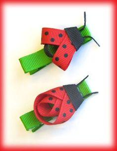 ladybug hair clips - My Photo Gallery … Ribbon Hair Clips, Hair Ribbons, Ribbon Art, Diy Hair Bows, Ribbon Crafts, Hair Barrettes, Ribbon Bows, Hairbows, Headbands