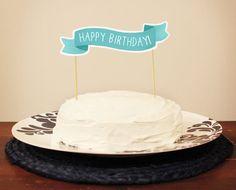 Happy Birthday Cake Topper Banner  Custom by ninjandninj on Etsy, $6.50
