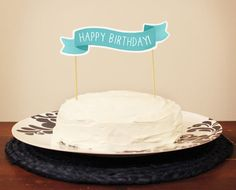 Happy Birthday Cake Topper Banner  Custom by ninjandninj on Etsy, $6.50