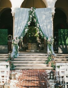 Romantic draping + garland backdrop