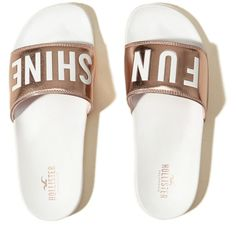 Hollister Graphic Slide Sandals (€23) ❤ liked on Polyvore featuring shoes, sandals, white with shine, padded sandals, white slide sandals, slide sandals, cushioned shoes and polish shoes