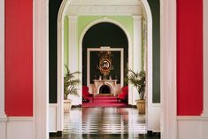 dorothy draper greenbrier hotel victorian_writing_room. flower red, banana leaf green, laquered white, and black