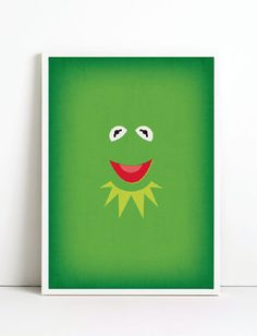 The Muppets Minimalist Poster Kermit the Frog by TheRetroInc, Vintage Retro Minimalist Style Print Wall Art www.etsy.com/shop/TheRetroInc @The_Retro_Inc