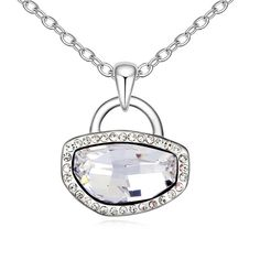 LOVER the Symbol of Love Lock Design Imitation Crystal Pendant Necklace imitation Gemstones may have been treated to improve their appearance or durability and may require special care. The natural properties and composition of mined gemstones define the unique beauty of each piece. The image may show slight differences to the actual stone in color and texture. Intricate high polish creates glamorous reflections and adds a luxurious look to this necklace Set with Imitational Austrian…
