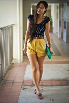 this is so cute to me...too bad i can't pull off high-wasted shorts