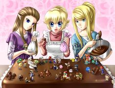Princess Zelda, Peach and Samus cooking. HOW DID THE OTHERS GET THERE??? Super Smash Bros.