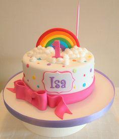 Torta arcoíris 1st Birthday Cake For Girls, 4th Birthday Cakes, Rainbow Parties, Rainbow Birthday Party, Girl Cakes, Piece Of Cakes, Buttercream Cake, Cake Smash, No Bake Cake