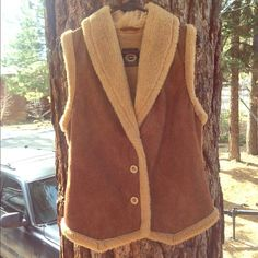 Vintage Fur Vest Western style vintage fur vest. 100% polyester micro suede bonded with 100% acrylic artificial fur. Size Womens Medium Jackets & Coats Vests