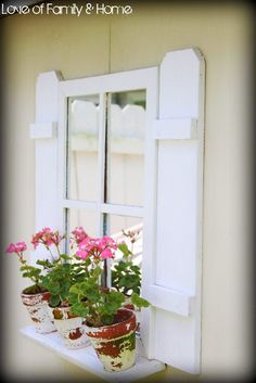 """For back of wall by ducks. Easy DIY:: Shutters for the Shed. Great against a """"dead"""" wall - with mirrors instead of glass panes - add interest to an ugly corner. Diy Shutters, Window Shutters, Shutters Inside, Window Boxes, Outdoor Projects, Garden Projects, Outdoor Decor, Shed Decor, Faux Window"""