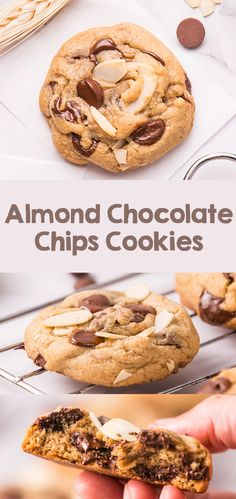 Almond chocolate chips cookies are classic chocolate chips cookies with the addition of crispy thinly toasted almond. Soft and chewy, but also crunchy from almonds! Great dessert and snack accompanied with cold milk. Great Desserts, Köstliche Desserts, Best Dessert Recipes, Cupcake Recipes, Delicious Desserts, Desert Recipes, Dinner Recipes, Easy Cookie Recipes, Brownie Recipes