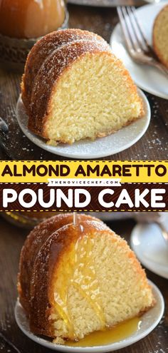 Breakfast cake? Why not? This easy breakfast idea is perfect for serving on Mother's Day brunch! The almond-flavored pound cake is slathered by a warm buttery amaretto sauce which will make you instantly fall in love with it! Cake Recipes From Scratch, Cake Mix Recipes, Pound Cake Recipes, Delicious Breakfast Recipes, Best Dessert Recipes, Real Food Recipes, Yummy Recipes, Homemade Frosting Recipes, Homemade Cakes