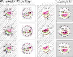 {Free Printable} Watermelon Circle Tags