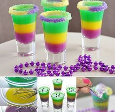 King Cake Shots so want to make these for mike's birthday he loves mardi gras Party Drinks, Cocktail Drinks, Fun Drinks, Yummy Drinks, Alcoholic Drinks, Yummy Food, Shots Drinks, Bartender Drinks, Party Shots