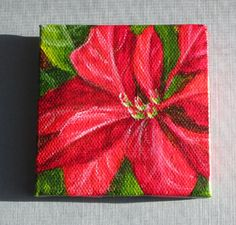 Original small acrylic painting of a red and green poinsettia, Christmas holiday decor by Debbie Shirley    A tiny little painting in red and green, a festive touch for the holidays - or a unique gift    SPECIAL: All 3 x 3 inch paintings will ship with a free wood mini display easel!    This tiny painting would add a bit of cheerful holiday color to a small spot in your home or office. Display as is, or frame it for a bigger impact.    Title: Holiday Color  Size: 3x3 inches  Medium: acrylic…
