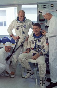 Astronauts Tom Stafford and Wally Schirra - crew of Gemini 6, October, 1965