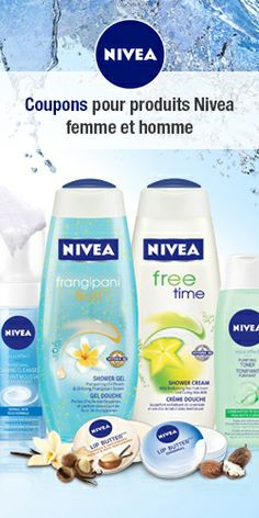 Coupons for Nivea Men and Women Free Stuff Canada, Free Things, Free Time, Free Samples, Coupons, Aqua, Bottle, Nivea Products, Makeup