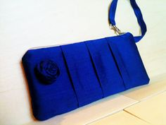 Royal Blue Princess Kate Silk Pleated Clutch by selinaaniles, $25.00