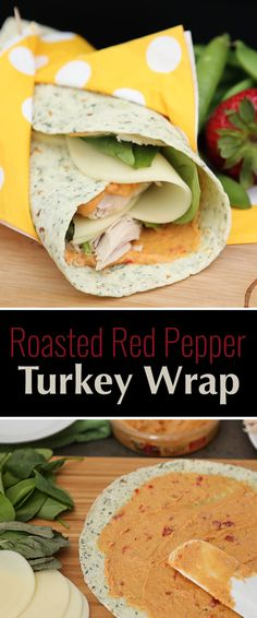 Roasted Red Pepper Turkey Wraps uses turkey, fresh spinach, basil, tasty provolone cheese, and Sabra Roasted Red Pepper Hummus for the spread. YUM!