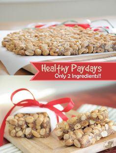 Healthy Paydays – Only Two Ingredients! {Vegan, Gluten-Free} ~ peanuts & dates mmm Vegan Candies, Vegan Treats, Vegan Snacks, Vegan Dinners, Healthy Desserts, Raw Food Recipes, Dessert Recipes, Healthy Bars, Raw Desserts