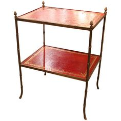 French Bagues Leather Trolley | From a unique collection of antique and modern end tables at https://www.1stdibs.com/furniture/tables/end-tables/