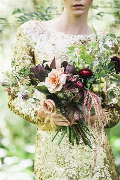 Gold Aje Liberty wedding dress and bouquet | Lara Hotz Photography for Hooray Magazine with styling by Stefanie Ingram, beauty by Liv Lundelius Makeup Artist and floral design by Jardine Botanic Floral Styling