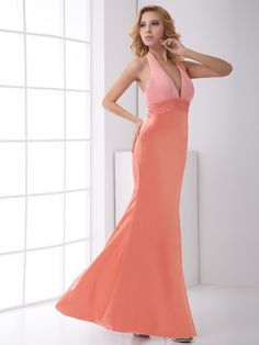 V-neck Halter Floor Length Sequin Sleevesless Mermaid Prom Dress.You can customize the color and size at nextdress.co.uk