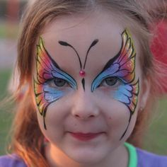 Rainbow - Butterfly by Nurit Pilchin Face Painting Images, Face Painting Designs, Love Painting, Butterfly Face Paint, Butterfly Fairy, Butterfly Costume, Rainbow Butterfly, Birthday Makeup, Belly Painting