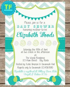 Baby Shower Invitation, Elephant, Chevron Invitation, Turquoise, Baby Shower, Customize For Your Event, Printable Invitation, Digital on Etsy, $13.50